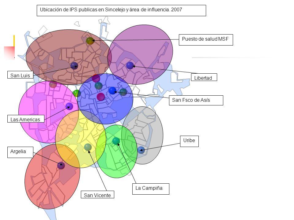 Ubicación de IPS publicas en Sincelejo y área de influencia. 2007