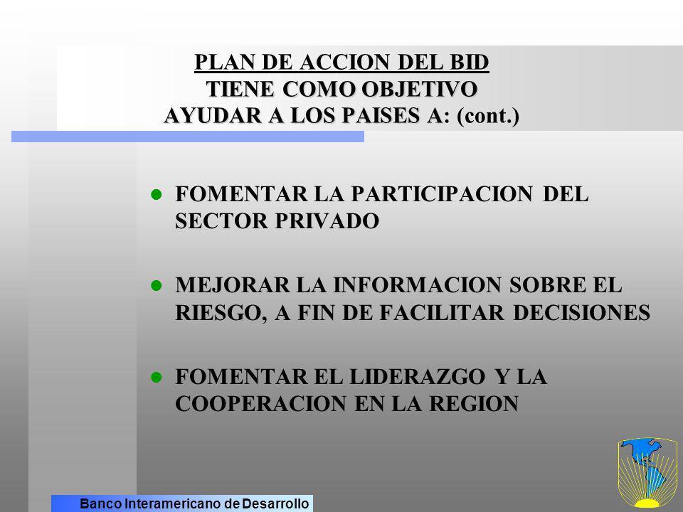 PLAN DE ACCION DEL BID TIENE COMO OBJETIVO AYUDAR A LOS PAISES A: (cont.)