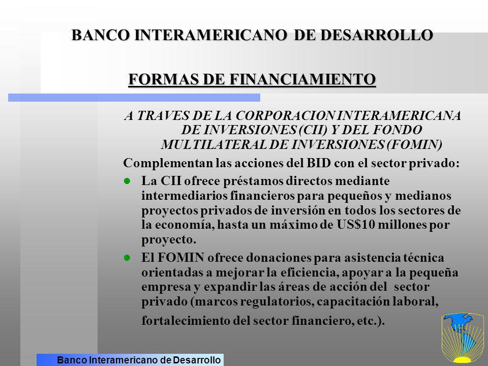 BANCO INTERAMERICANO DE DESARROLLO FORMAS DE FINANCIAMIENTO