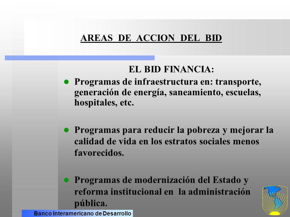 AREAS DE ACCION DEL BID EL BID FINANCIA: