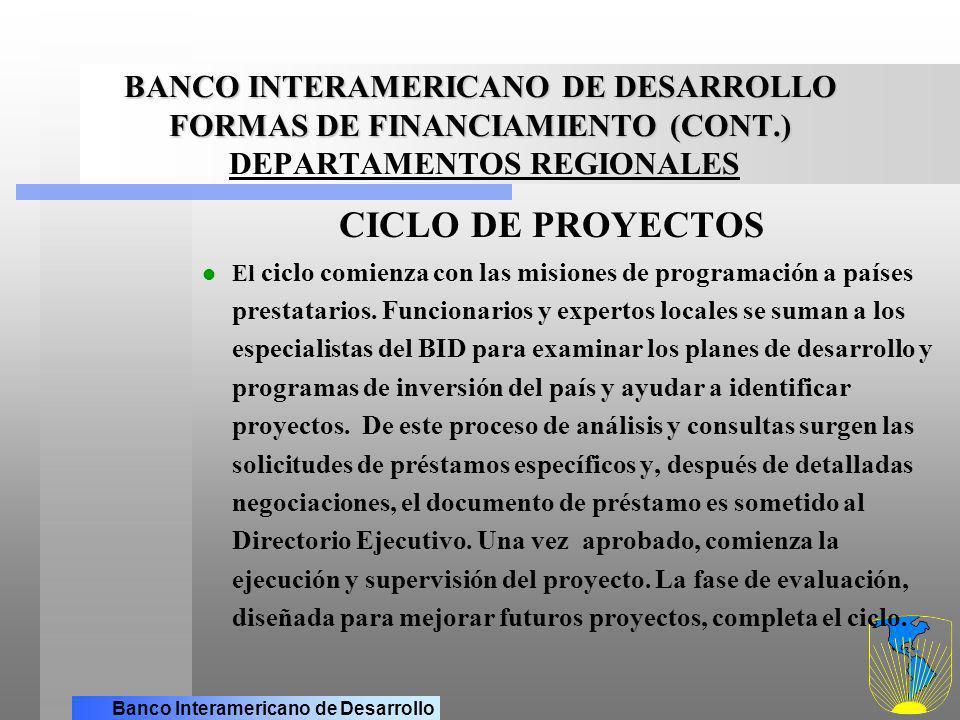 BANCO INTERAMERICANO DE DESARROLLO FORMAS DE FINANCIAMIENTO (CONT