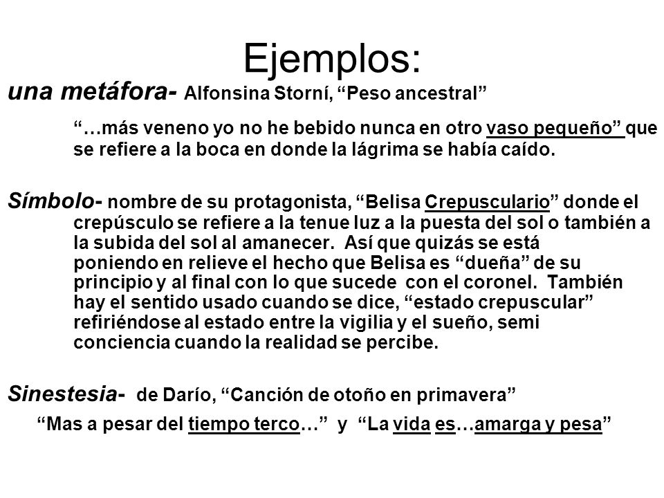 Ejemplos: una metáfora- Alfonsina Storní, Peso ancestral