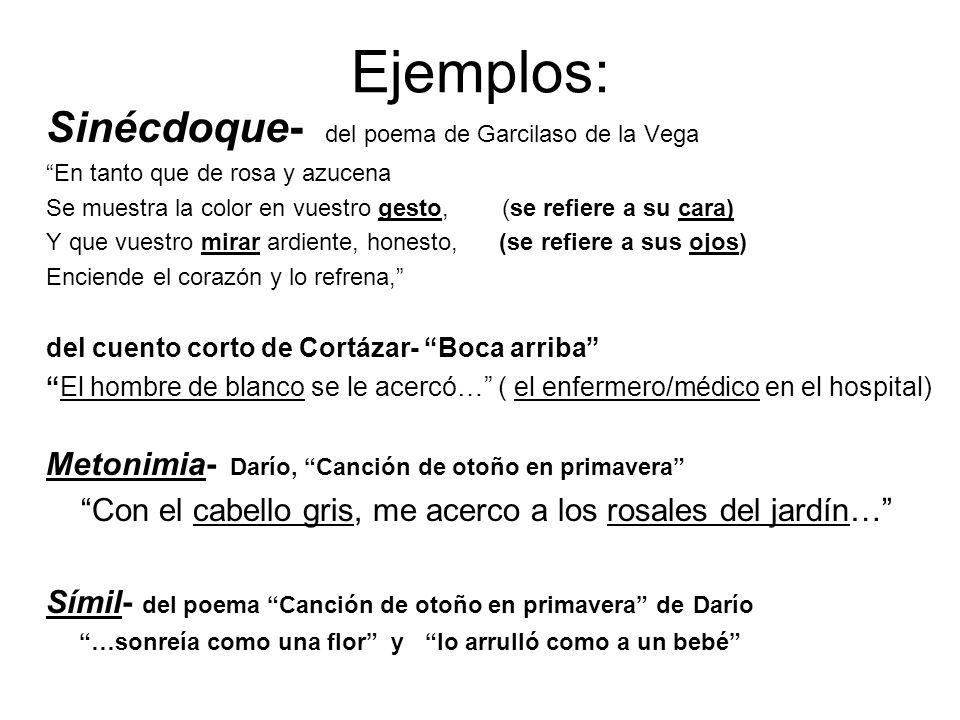 Ejemplos: Sinécdoque- del poema de Garcilaso de la Vega