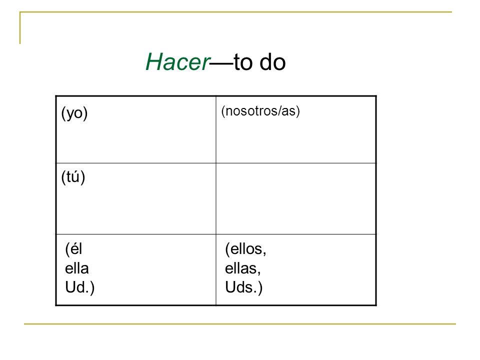 Hacer—to do (yo) (nosotros/as) (tú) (él ella Ud.) (ellos, ellas, Uds.)