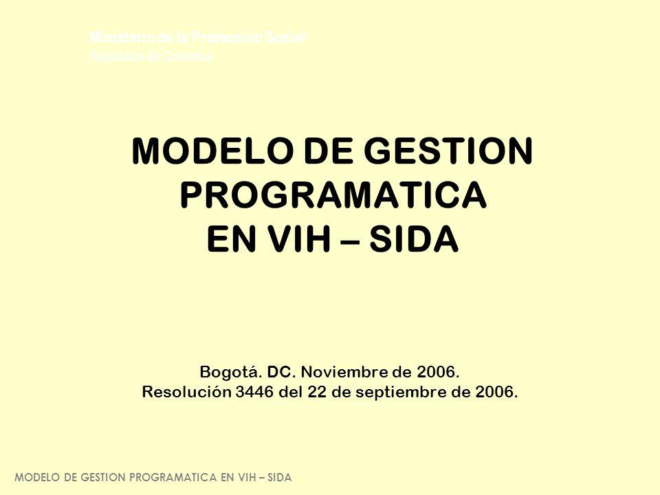 MODELO DE GESTION PROGRAMATICA EN VIH – SIDA