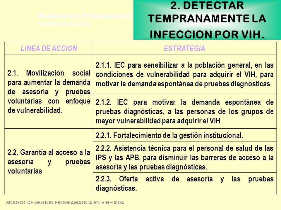 2. DETECTAR TEMPRANAMENTE LA INFECCION POR VIH.