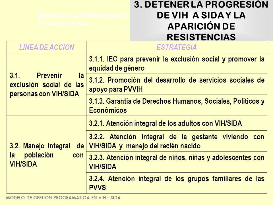 3. DETENER LA PROGRESIÓN DE VIH A SIDA Y LA APARICIÓN DE RESISTENCIAS