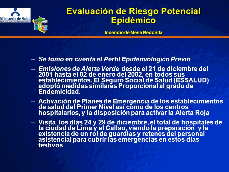 Evaluación de Riesgo Potencial Epidémico Incendio de Mesa Redonda
