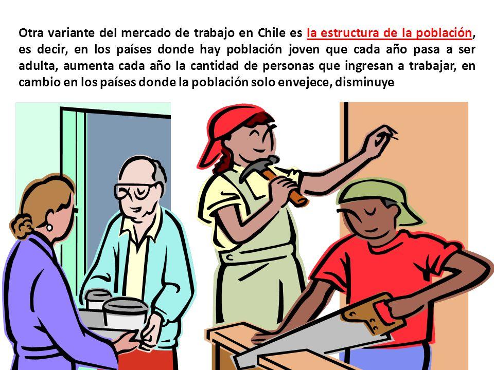 Otra variante del mercado de trabajo en Chile es la estructura de la población, es decir, en los países donde hay población joven que cada año pasa a ser adulta, aumenta cada año la cantidad de personas que ingresan a trabajar, en cambio en los países donde la población solo envejece, disminuye