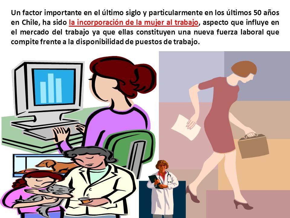 Un factor importante en el último siglo y particularmente en los últimos 50 años en Chile, ha sido la incorporación de la mujer al trabajo, aspecto que influye en el mercado del trabajo ya que ellas constituyen una nueva fuerza laboral que compite frente a la disponibilidad de puestos de trabajo.