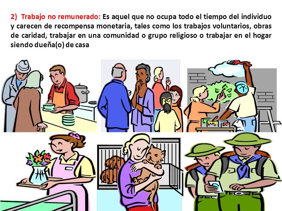 2) Trabajo no remunerado: Es aquel que no ocupa todo el tiempo del individuo y carecen de recompensa monetaria, tales como los trabajos voluntarios, obras de caridad, trabajar en una comunidad o grupo religioso o trabajar en el hogar siendo dueña(o) de casa