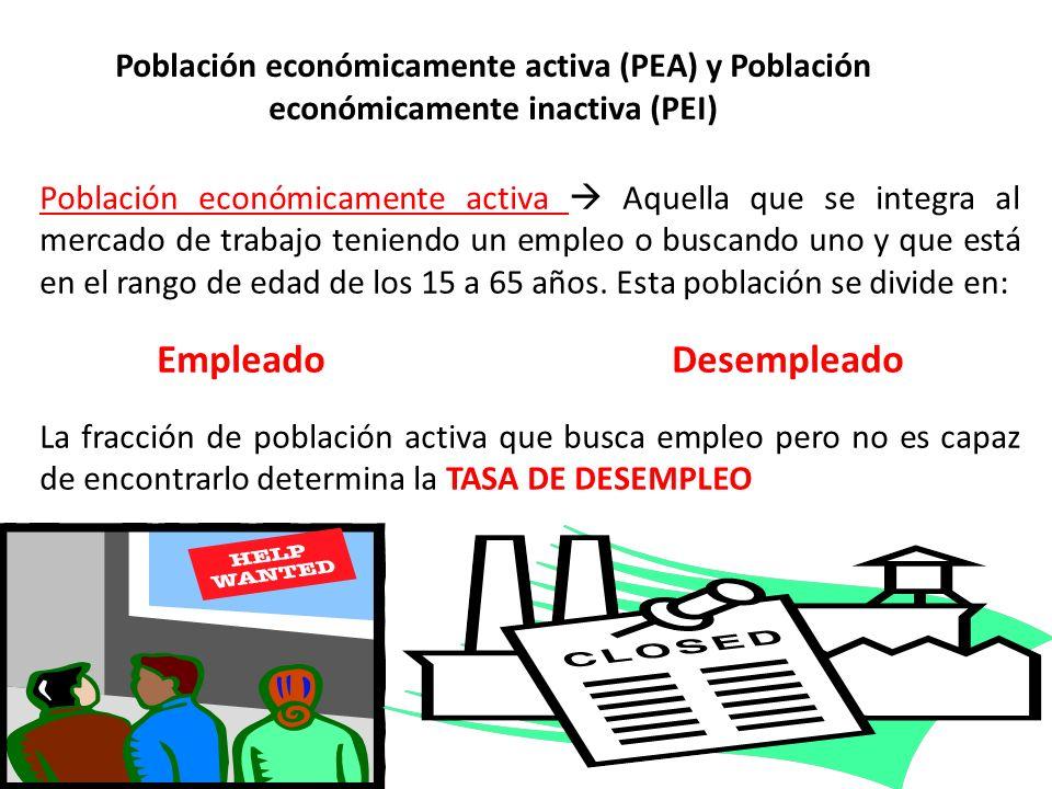Población económicamente activa (PEA) y Población económicamente inactiva (PEI)