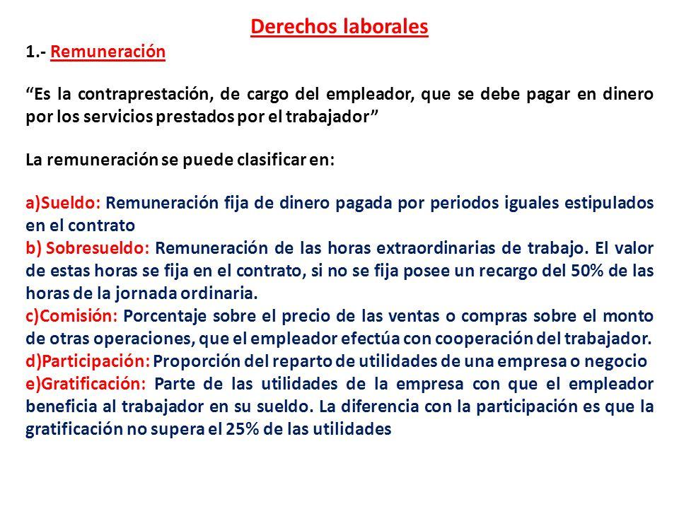Derechos laborales 1.- Remuneración