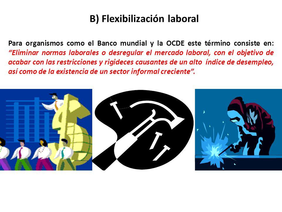 B) Flexibilización laboral