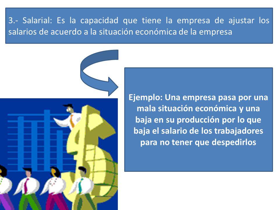 3.- Salarial: Es la capacidad que tiene la empresa de ajustar los salarios de acuerdo a la situación económica de la empresa
