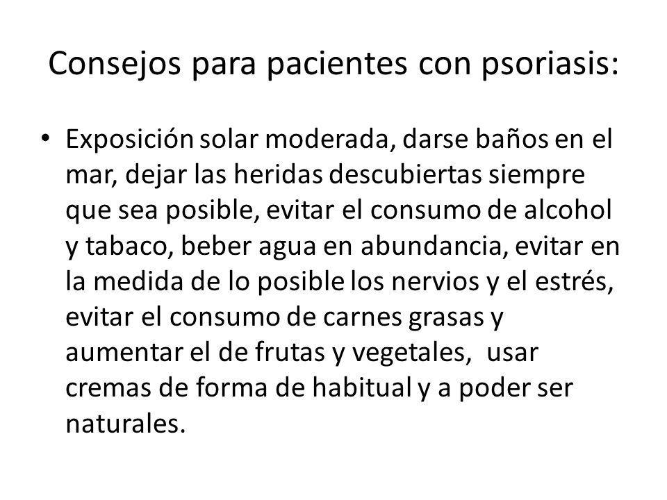 Consejos para pacientes con psoriasis: