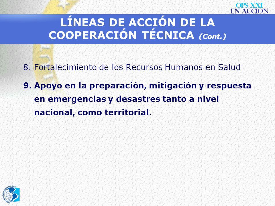 LÍNEAS DE ACCIÓN DE LA COOPERACIÓN TÉCNICA (Cont.)