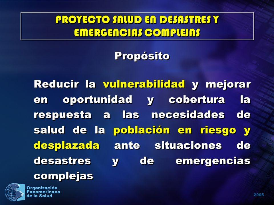 PROYECTO SALUD EN DESASTRES Y EMERGENCIAS COMPLEJAS