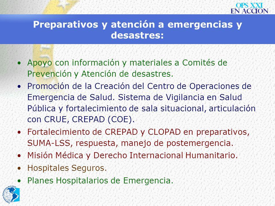 Preparativos y atención a emergencias y desastres: