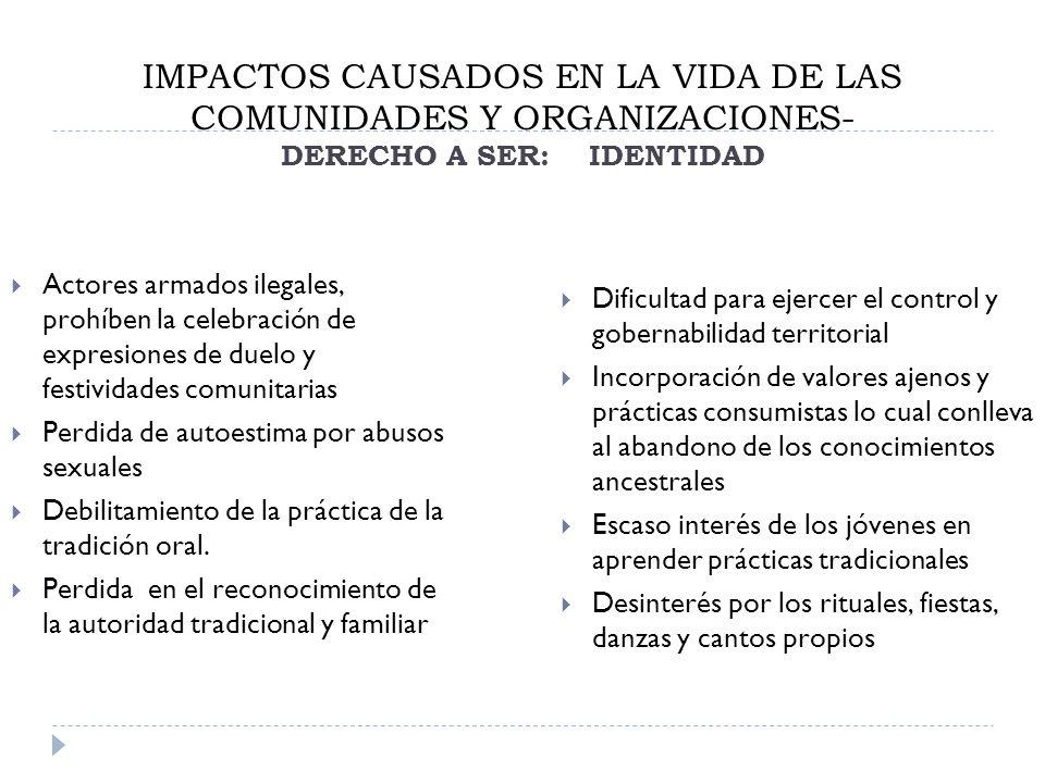 IMPACTOS CAUSADOS EN LA VIDA DE LAS COMUNIDADES Y ORGANIZACIONES- DERECHO A SER: IDENTIDAD