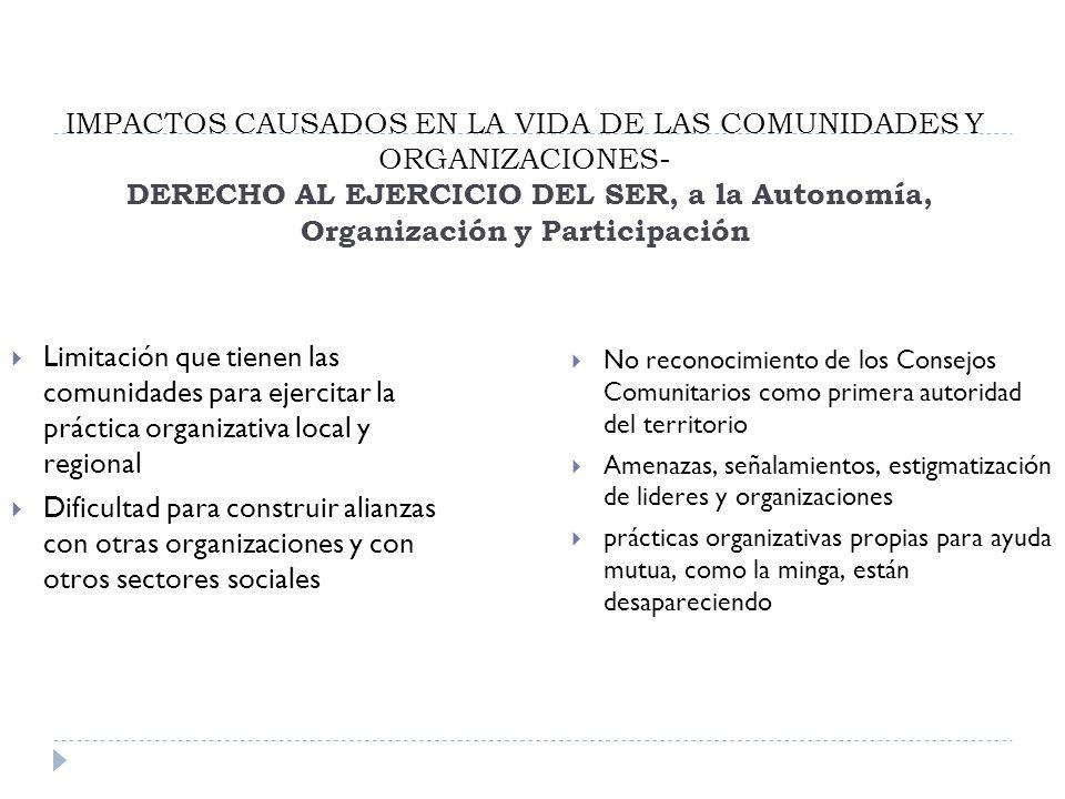 IMPACTOS CAUSADOS EN LA VIDA DE LAS COMUNIDADES Y ORGANIZACIONES- DERECHO AL EJERCICIO DEL SER, a la Autonomía, Organización y Participación
