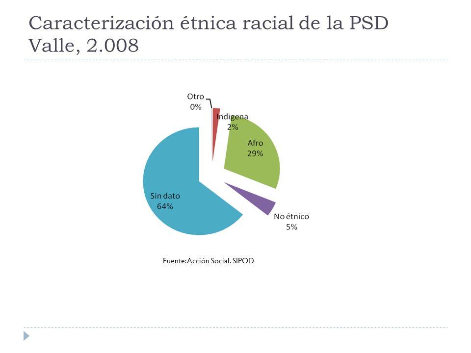 Caracterización étnica racial de la PSD Valle, 2.008