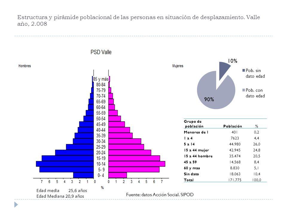 Estructura y pirámide poblacional de las personas en situación de desplazamiento. Valle año, 2.008