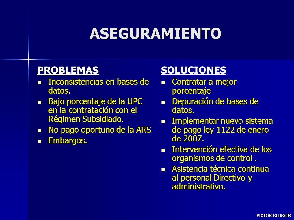 ASEGURAMIENTO PROBLEMAS SOLUCIONES Inconsistencias en bases de datos.