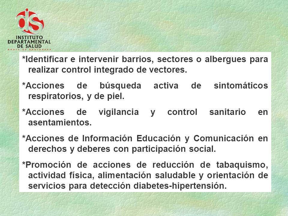 *Identificar e intervenir barrios, sectores o albergues para realizar control integrado de vectores.