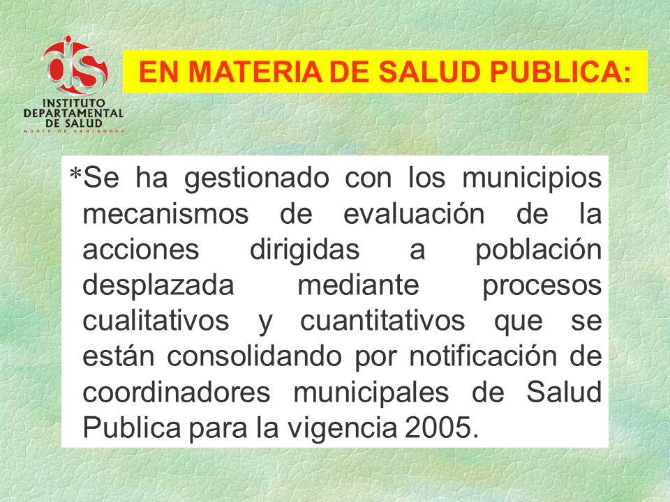 EN MATERIA DE SALUD PUBLICA:
