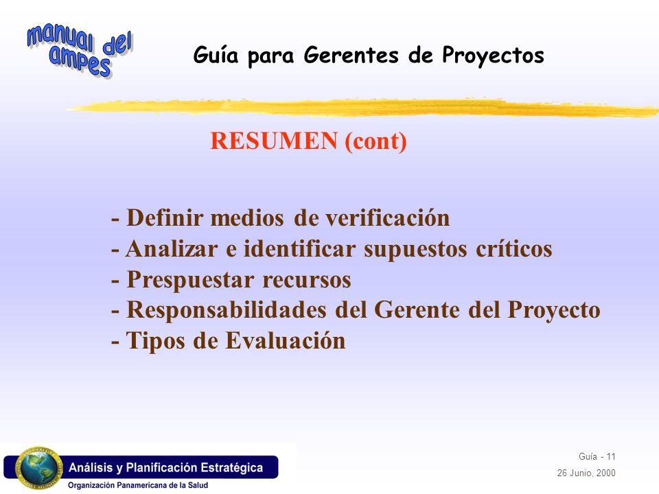 RESUMEN (cont) - Definir medios de verificación. - Analizar e identificar supuestos críticos. - Prespuestar recursos.