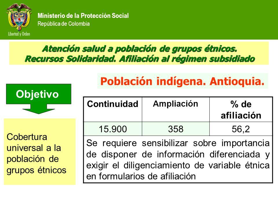 Población indígena. Antioquia. Objetivo