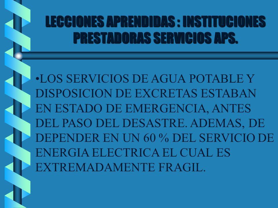 LECCIONES APRENDIDAS : INSTITUCIONES PRESTADORAS SERVICIOS APS.