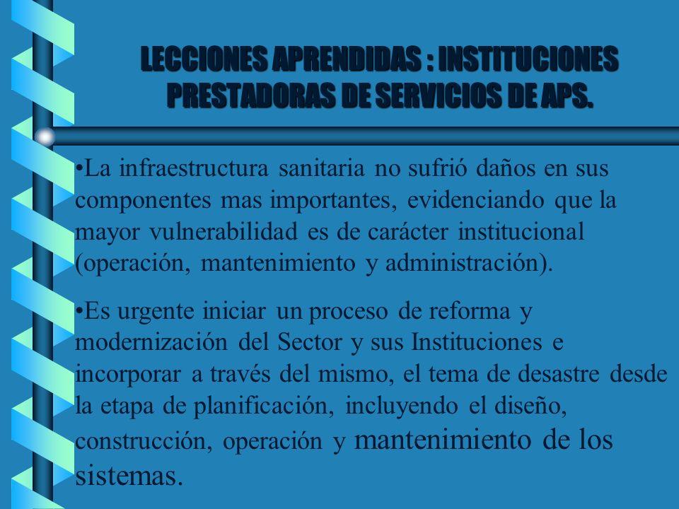 LECCIONES APRENDIDAS : INSTITUCIONES PRESTADORAS DE SERVICIOS DE APS.