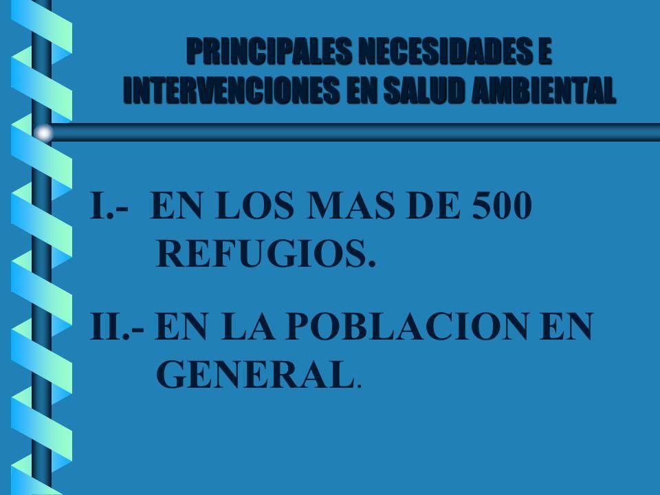 PRINCIPALES NECESIDADES E INTERVENCIONES EN SALUD AMBIENTAL