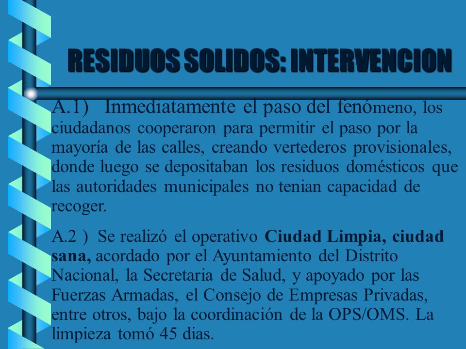 RESIDUOS SOLIDOS: INTERVENCION