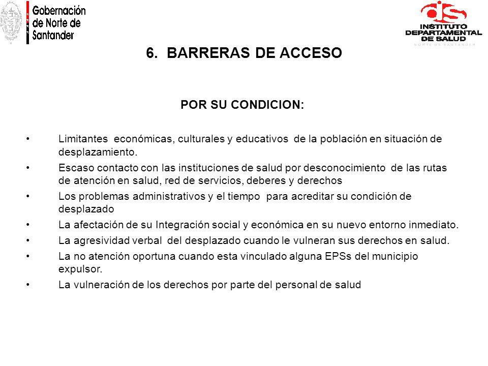 6. BARRERAS DE ACCESO POR SU CONDICION: