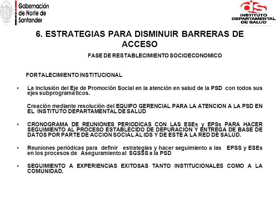 6. ESTRATEGIAS PARA DISMINUIR BARRERAS DE ACCESO