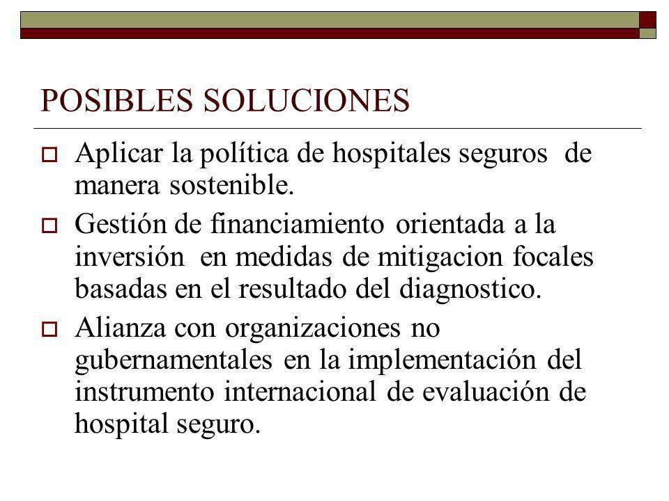 POSIBLES SOLUCIONESAplicar la política de hospitales seguros de manera sostenible.