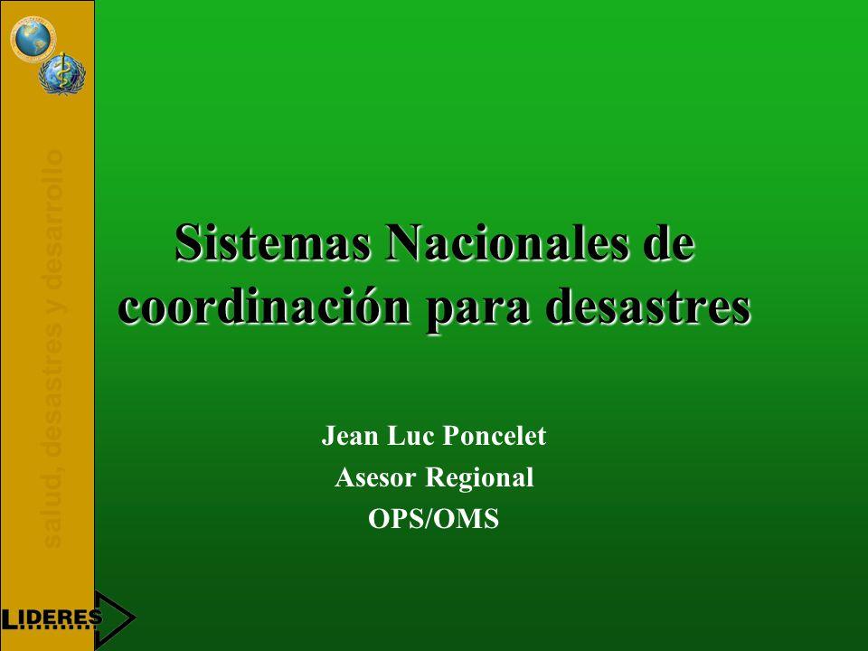 Sistemas Nacionales de coordinación para desastres