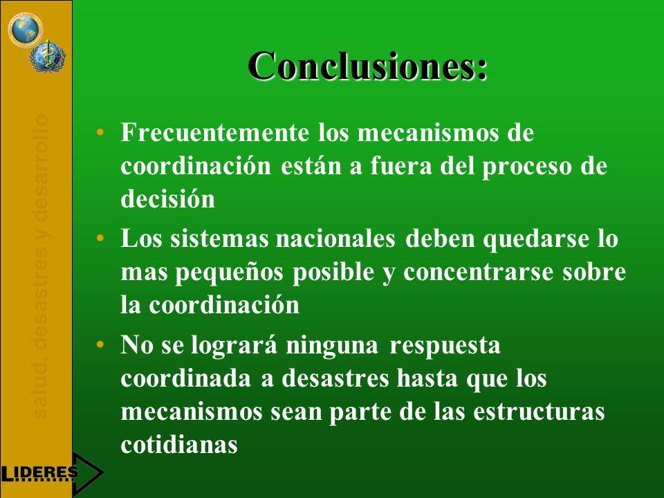 Conclusiones: Frecuentemente los mecanismos de coordinación están a fuera del proceso de decisión.