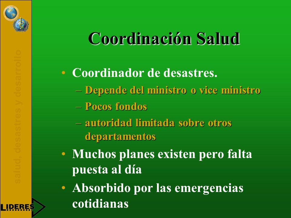 Coordinación Salud Coordinador de desastres.