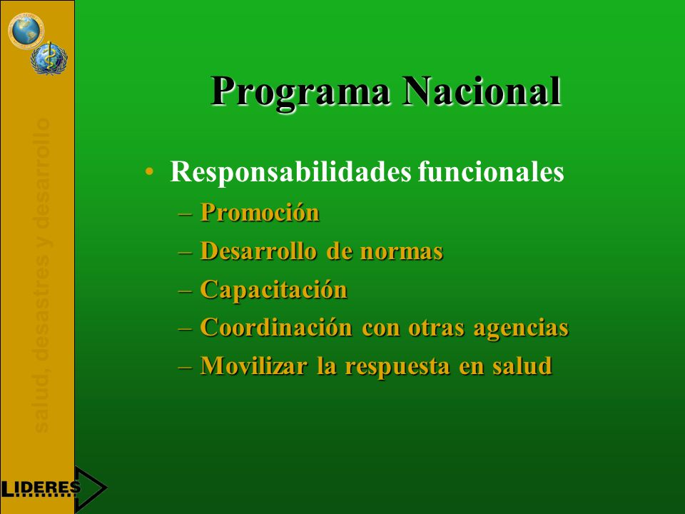 Programa Nacional Responsabilidades funcionales Promoción