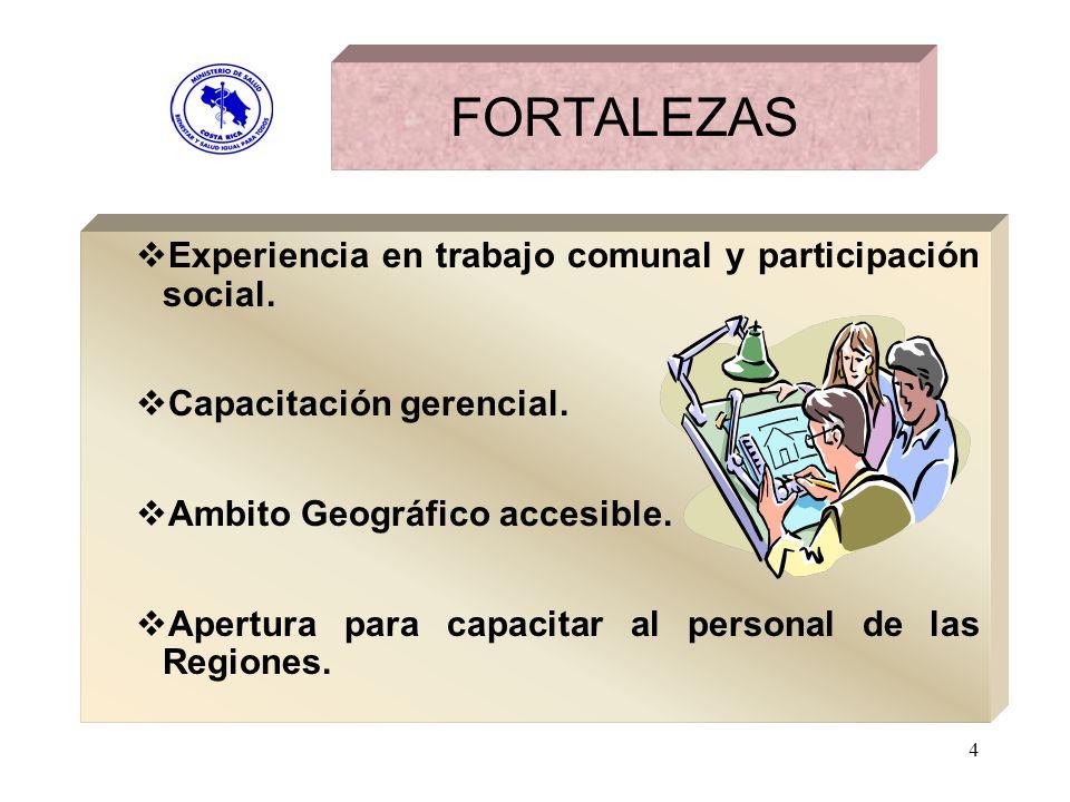 FORTALEZAS Experiencia en trabajo comunal y participación social.