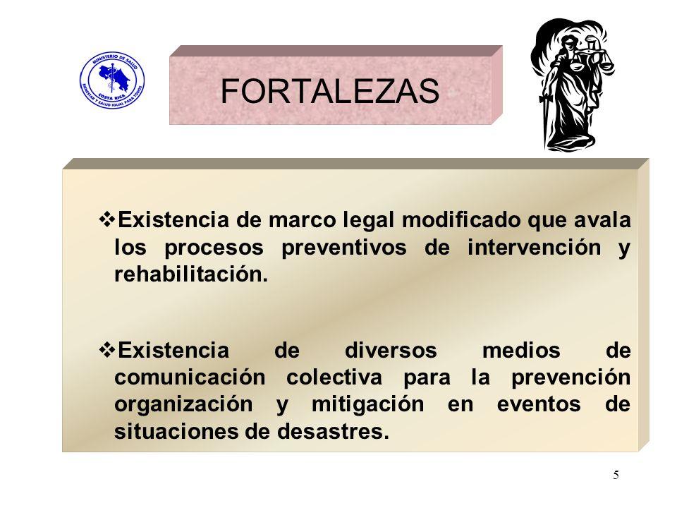 FORTALEZASExistencia de marco legal modificado que avala los procesos preventivos de intervención y rehabilitación.