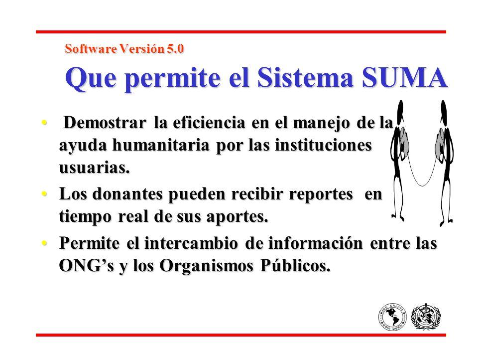 Software Versión 5.0 Que permite el Sistema SUMA