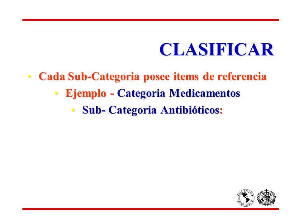 CLASIFICAR Cada Sub-Categoria posee items de referencia