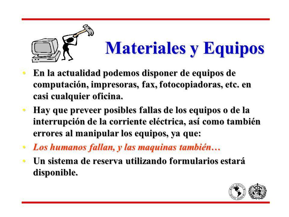 Materiales y EquiposEn la actualidad podemos disponer de equipos de computación, impresoras, fax, fotocopiadoras, etc. en casi cualquier oficina.