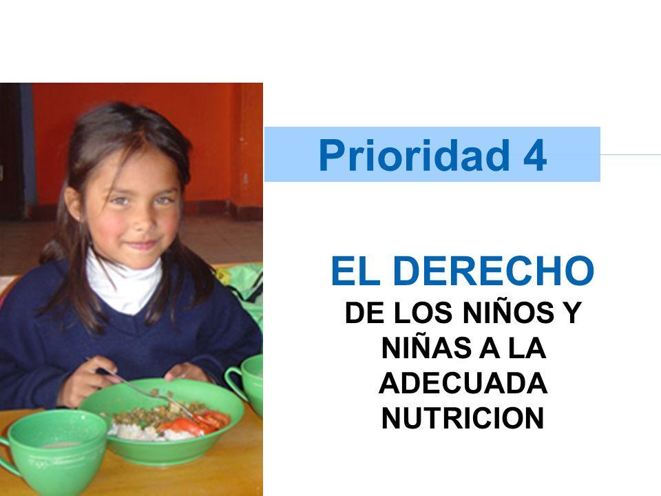 EL DERECHO DE LOS NIÑOS Y NIÑAS A LA ADECUADA NUTRICION