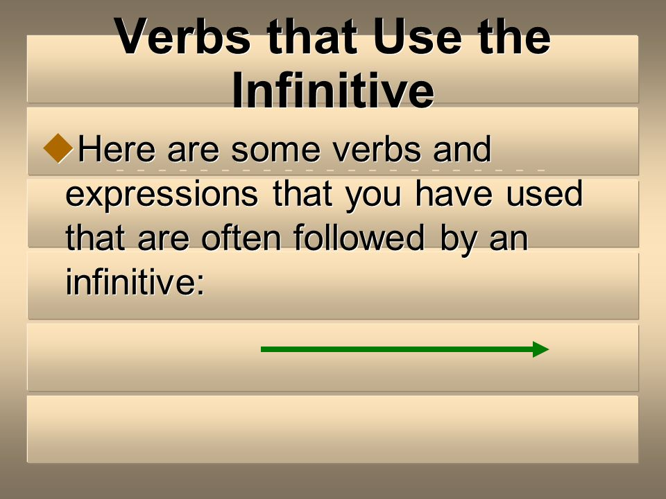 Verbs that Use the Infinitive